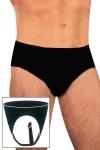Slip mixte latex penis anal - Slip avec penis anal intégré en latex noir naturel pour hommes et femmes.