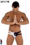 Jock-Strap Tao - Jock-Strap lycra bicolore, l'esprit yin et yang dans une lingerie réservée aux hommes.
