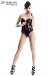 Body Fumi  - Body bustier en wetlook souligné de rouge, collection Shibari, par Demoniq.